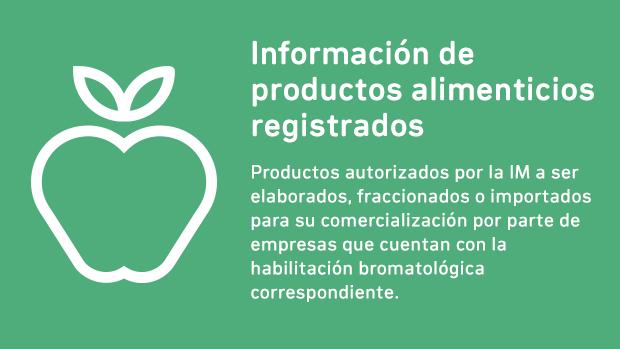 Información de productos alimenticios registrados