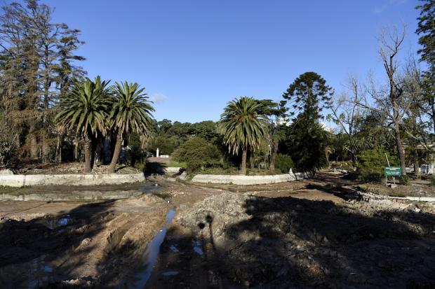 Vaciado y limpieza del lago del Parque Rodó