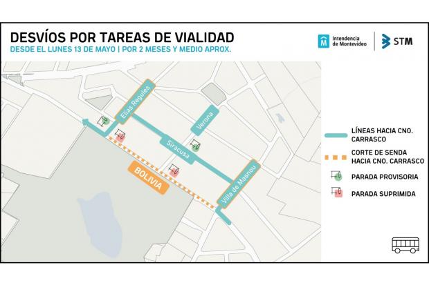 Mapa de desvíos de transporte en Av. Bolivia