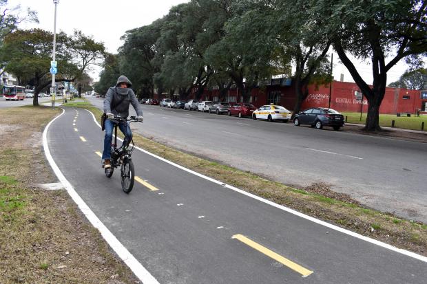 Bicisenda en avenida Américo Ricaldoni entre Vidiella y Morquio.
