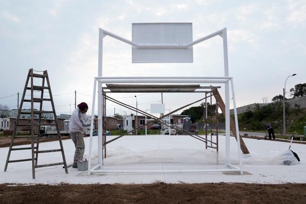 Obras en plaza Ciudad de Azul y Rufino T.Domínguez