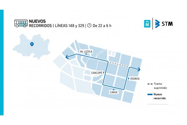 Nuevo recorrido Líneas 148 y 329