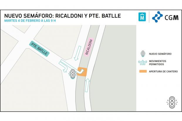 Nuevo semaforo en Pte Batlle y Ricaldoni