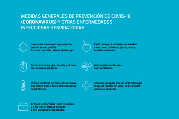 Medidas de prevención por coronavirus