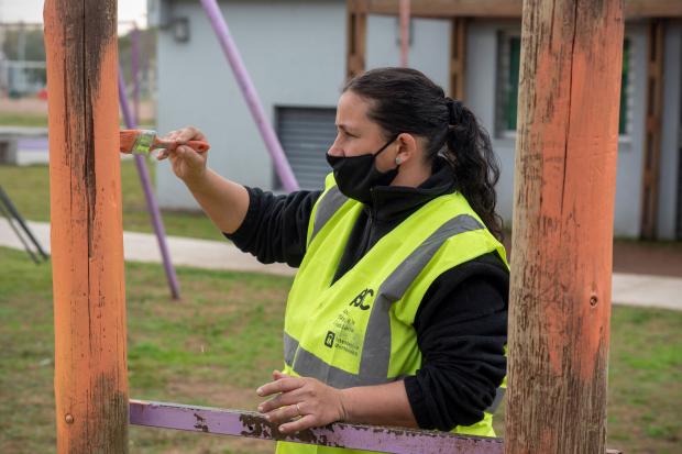 Trabajos en Espacio Plaza Punta de Rieles en el marco del Programa ABC Oportunidad Trabajo