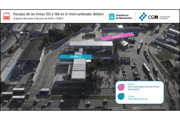 mapa nuevas paradas líneas 103 y 106