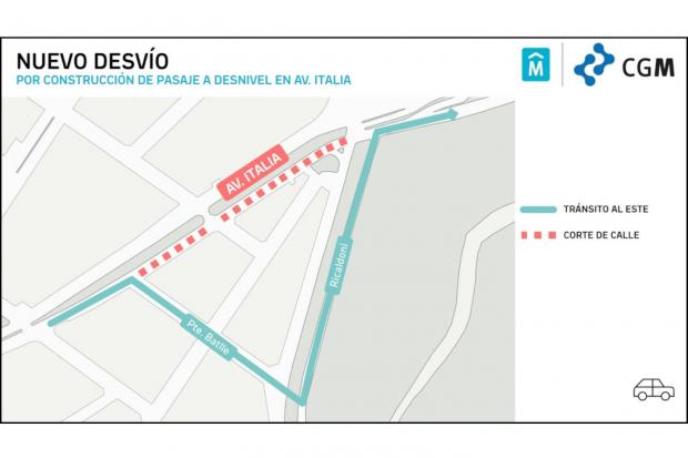 Nuevo desvío por obras en Avenida Italia
