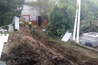 Conexión a sanemaiento en el barrio La Paloma