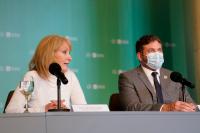 Conferencia de prensa de la intendenta Carolina Cosse con el presidente de Conmebol, Alejandro Dominguez