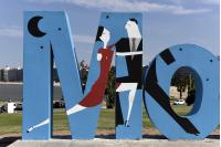 Inauguración de la intervención en las letras de Montevideo por los 100 años de la Cumparsita.
