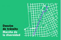Mapa de desvíos por marcha de la diversidad 2021