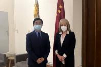 Reunión Intendenta de Montevideo y agregado comercial de la Embajada de China en Uruguay