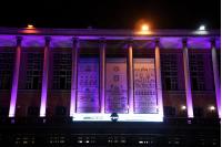Iluminacion de la fachada dela Intendencia de Montevideo por campaña contra la violencia de genero.