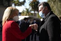 Visita de la Intendenta Carolina Cosse a vacunatorio en la Rural del Prado