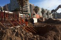 Avances de obra en muro de rambla República del Perú
